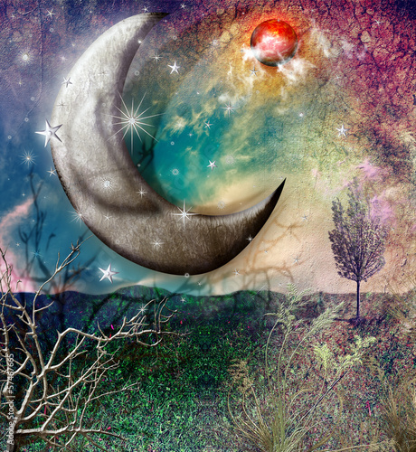 Fairytales landscape with moon and stars