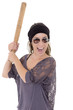 Woman hispanic criminal with bat on white