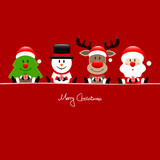 Christmas Tree, Snowman, Rudolph, Santa & Angel Gift Red