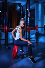 Hot blonde in gym