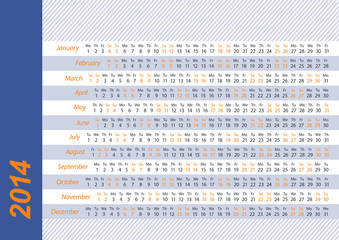 Horizontal calendar for 2014 blue and orange