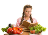 Girl with braids making a salad