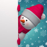 3d Christmas Snowman holding white page