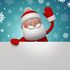 3d Santa Claus holding white page, place your text