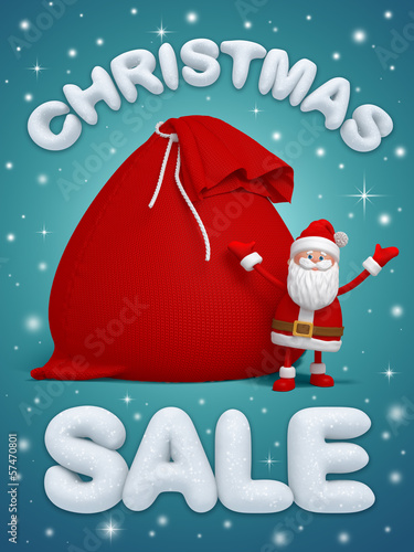 Christmas sale, 3d Santa Claus with bag