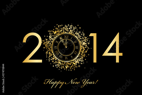Vector 2014 Happy New Year background with gold clock