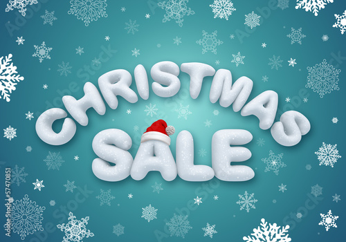 Christmas sale text, 3d snow title