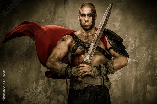 Wounded gladiator in waving coat