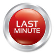 Last minute button. Sale red round sticker.
