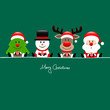 Christmas Tree, Snowman, Rudolph, Santa & Angel Gift Green
