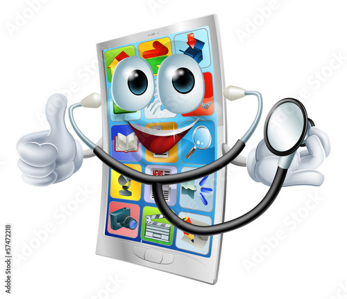 Cartoon phone holding a stethoscope