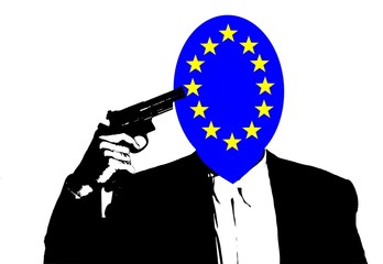 illustration of suicide of europe