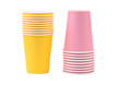 Two yellow and pink stacks of paper cups
