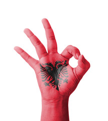 Hand making Ok sign, Albania flag painted