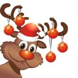 Rentier Rudulph mit Christbaumkugeln und Weihnachtsmütze