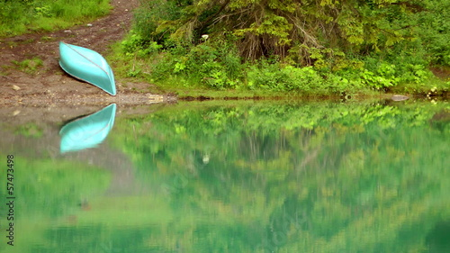 Lone Canoe on the shore of Emerald Lake in Yoho National Park