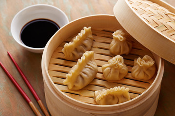 Homemade dim-sum asian dumplings