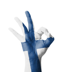 Hand making Ok sign, Finland flag painted