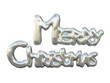 Shining Silver Lettering Merry Christmas Isolated On White