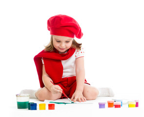 artist kid girl drawing and painting