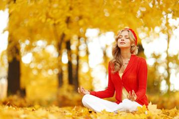 Autumn yoga woman