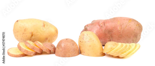 Different potatoes and split tuber.