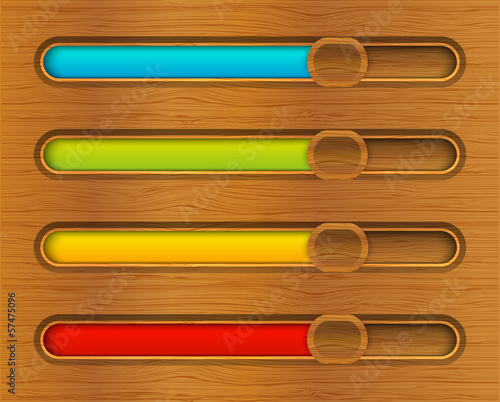 Set of color progress bars on wooden background