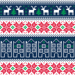 Winter christmas seamless pattern with reindeer