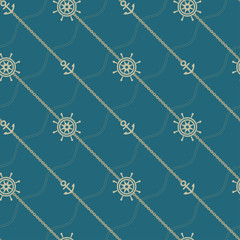 Anchor and chain. Seamless marine  pattern. Vector illustration