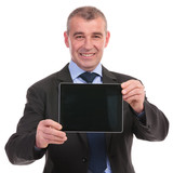 business man presents a tablet