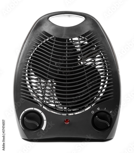 black electric heater isolated on white background