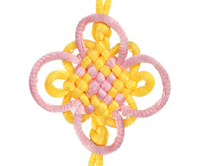 Macrame of yellow and purple lace.