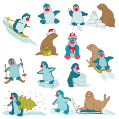 Penguins - Christmas Set - for design and scrapbook - in vector