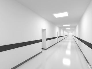 Abstract white office corridor interior. 3d render