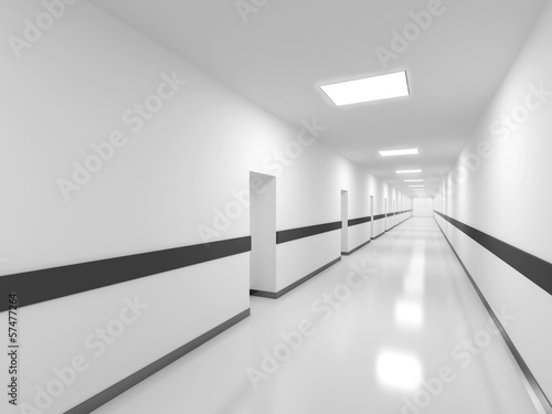Abstract white office corridor interior. 3d render