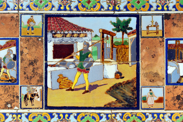 Scenes of Don Quixote, tiles
