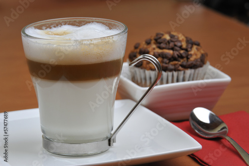 latte macchiato and chocolate muffins