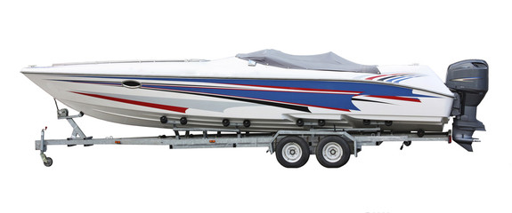 speedboat on the trailer