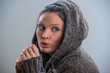 Young woman wearing hoodie