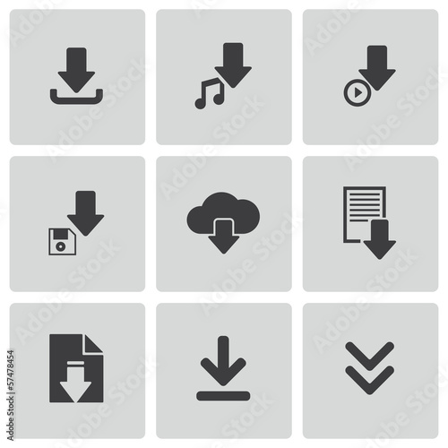 Vector black download icons set