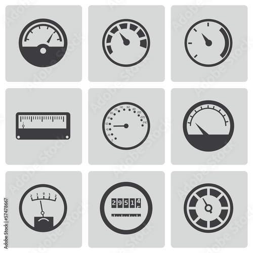 Vector black meter icons set