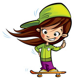 Fototapety Happy cute girl on a skateboard making a thumbs up gesture