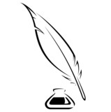 Quill and Ink pot black vector icon