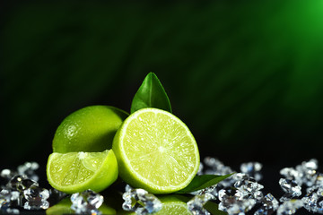 Fresh limes with leaves