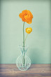 Vintage yellow persian buttercups flowers in a vase on wooden ta