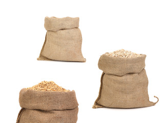 Collage of bags with grain.