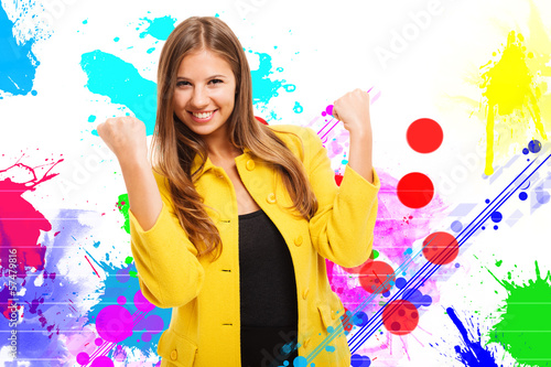 Colorful happy woman portrait