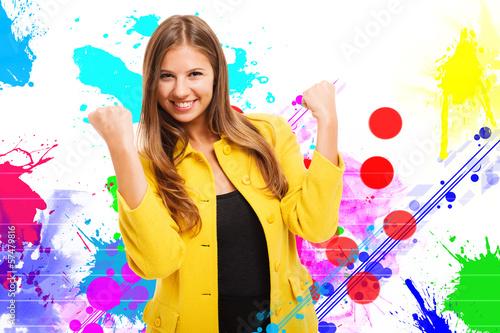 Colorful happy woman portrait