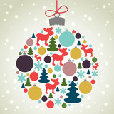 Retro Christmas background with the xmas baubles, trees, moose