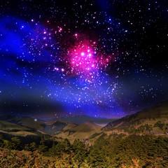 Beautiful mountain and galaxy